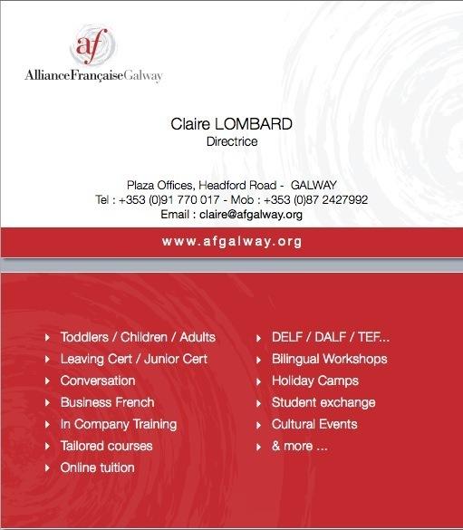 L Alliance Francaise Galway Carte de visite