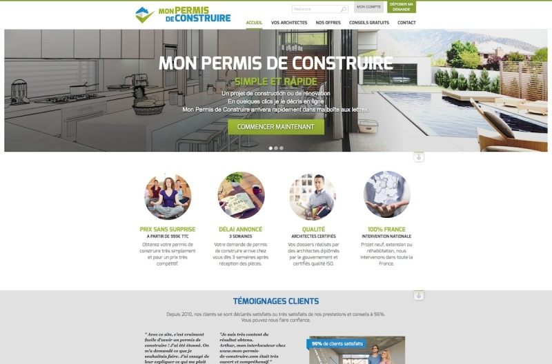 cr ation du site web mon permis de construire. Black Bedroom Furniture Sets. Home Design Ideas